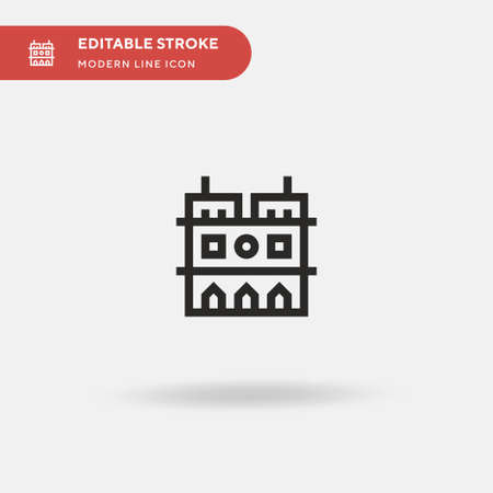 Notre Dame Simple vector icon. Illustration symbol design template for web mobile UI element. Perfect color modern pictogram on editable stroke. Notre Dame icons for your business project