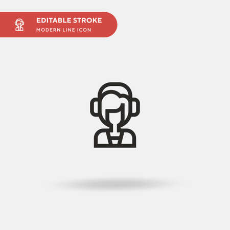 Online Support Simple vector icon. Illustration symbol design template for web mobile UI element. Perfect color modern pictogram on editable stroke. Online Support icons for your business project Çizim