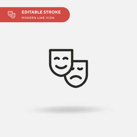 Theater Masks Simple vector icon. Illustration symbol design template for web mobile UI element. Perfect color modern pictogram on editable stroke. Theater Masks icons for your business project  イラスト・ベクター素材