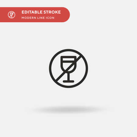 No Drinking Simple vector icon. Illustration symbol design template for web mobile UI element. Perfect color modern pictogram on editable stroke. No Drinking icons for your business project