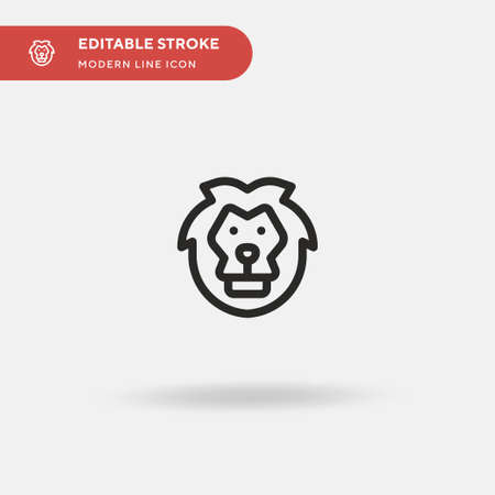 Lion Simple vector icon. Illustration symbol design template for web mobile UI element. Perfect color modern pictogram on editable stroke. Lion icons for your business project