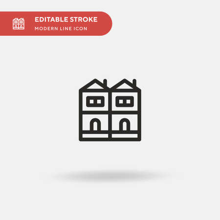 Terraced House Simple vector icon. Illustration symbol design template for web mobile UI element. Perfect color modern pictogram on editable stroke. Terraced House icons for your business project Stock Illustratie