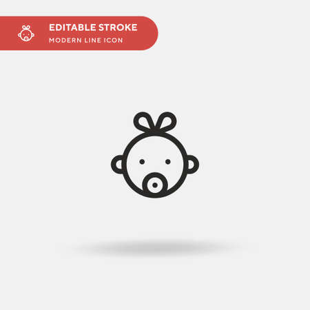 Baby Girl Simple vector icon. Illustration symbol design template for web mobile UI element. Perfect color modern pictogram on editable stroke. Baby Girl icons for your business project Çizim