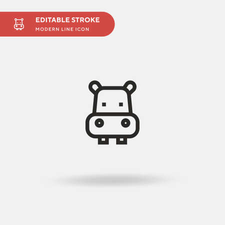 Hippo Simple vector icon. Illustration symbol design template for web mobile UI element. Perfect color modern pictogram on editable stroke. Hippo icons for your business project