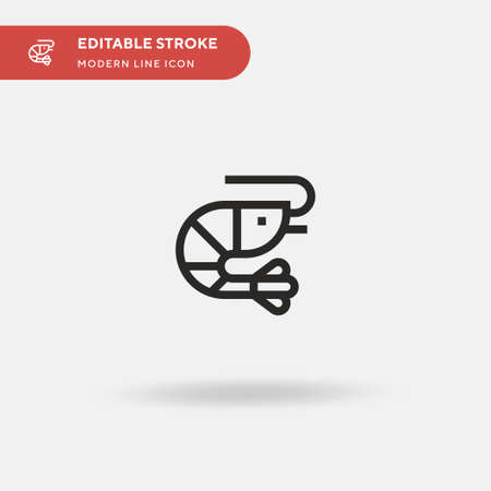 Shrimp Simple vector icon. Illustration symbol design template for web mobile UI element. Perfect color modern pictogram on editable stroke. Shrimp icons for your business project