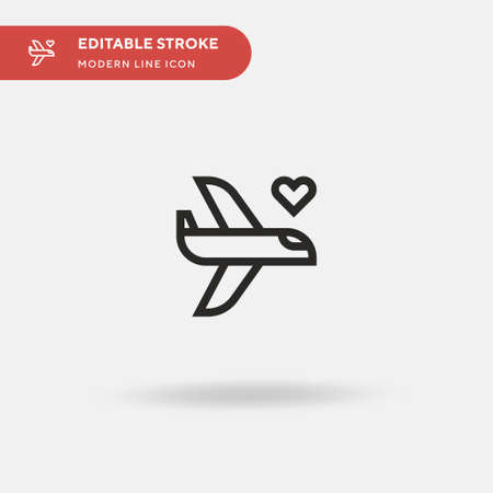 Plane Simple vector icon. Illustration symbol design template for web mobile UI element. Perfect color modern pictogram on editable stroke. Plane icons for your business project Иллюстрация