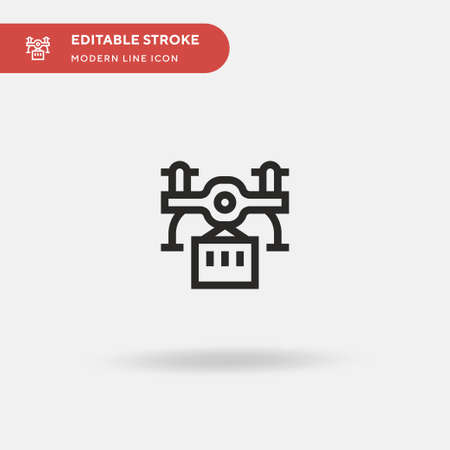 Drone Simple vector icon. Illustration symbol design template for web mobile UI element. Perfect color modern pictogram on editable stroke. Drone icons for your business project Vettoriali