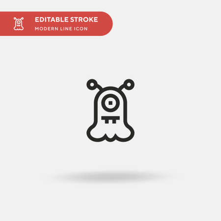 Alien Simple vector icon. Illustration symbol design template for web mobile UI element. Perfect color modern pictogram on editable stroke. Alien icons for your business project Archivio Fotografico - 150880036