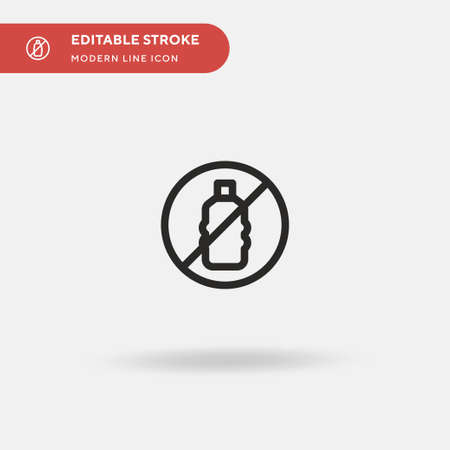 No Plastic Bottles Simple vector icon. Illustration symbol design template for web mobile UI element. Perfect color modern pictogram on editable stroke. No Plastic Bottles icons for your business project