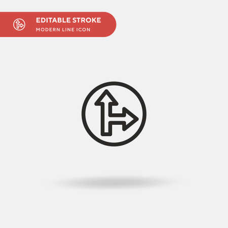 Go Straight Or Right Simple vector icon. Illustration symbol design template for web mobile UI element. Perfect color modern pictogram on editable stroke. Go Straight Or Right icons for your business project