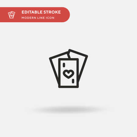 Playing Card Simple vector icon. Illustration symbol design template for web mobile UI element. Perfect color modern pictogram on editable stroke. Playing Card icons for your business project