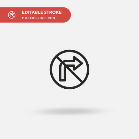 No Turn Right Simple vector icon. Illustration symbol design template for web mobile UI element. Perfect color modern pictogram on editable stroke. No Turn Right icons for your business project