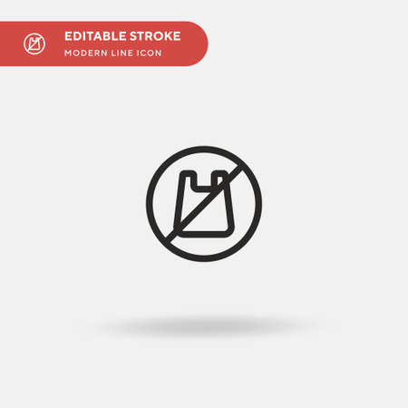 No Plastic Bags Simple vector icon. Illustration symbol design template for web mobile UI element. Perfect color modern pictogram on editable stroke. No Plastic Bags icons for your business project