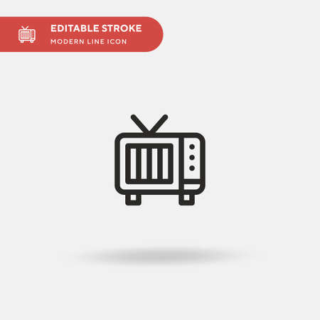 Vintage Tv Simple vector icon. Illustration symbol design template for web mobile UI element. Perfect color modern pictogram on editable stroke. Vintage Tv icons for your business project