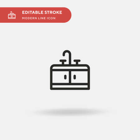 Sink Simple vector icon. Illustration symbol design template for web mobile UI element. Perfect color modern pictogram on editable stroke. Sink icons for your business project