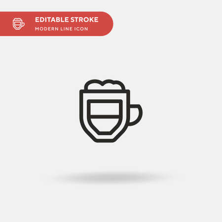 Coffee Latte Simple vector icon. Illustration symbol design template for web mobile UI element. Perfect color modern pictogram on editable stroke. Coffee Latte icons for your business project