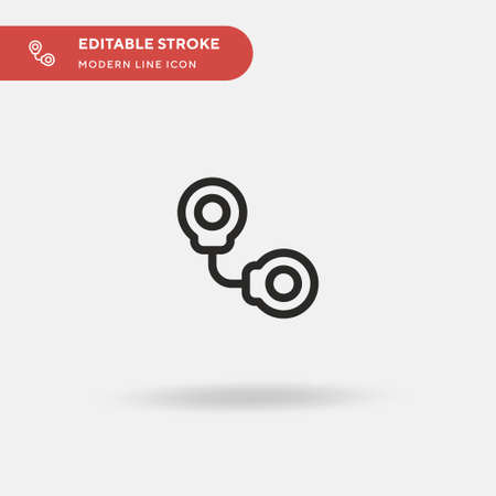 Handcuffs Simple vector icon. Illustration symbol design template for web mobile UI element. Perfect color modern pictogram on editable stroke. Handcuffs icons for your business project