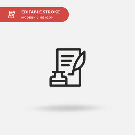 Quill Simple vector icon. Illustration symbol design template for web mobile UI element. Perfect color modern pictogram on editable stroke. Quill icons for your business project  イラスト・ベクター素材