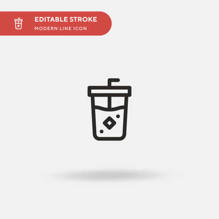 Ice Coffee Simple vector icon. Illustration symbol design template for web mobile UI element. Perfect color modern pictogram on editable stroke. Ice Coffee icons for your business project