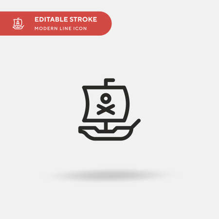 Pirate Ship Simple vector icon. Illustration symbol design template for web mobile UI element. Perfect color modern pictogram on editable stroke. Pirate Ship icons for your business project