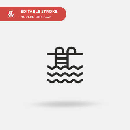 Swimming Pool Simple vector icon. Illustration symbol design template for web mobile UI element. Perfect color modern pictogram on editable stroke. Swimming Pool icons for your business project Çizim