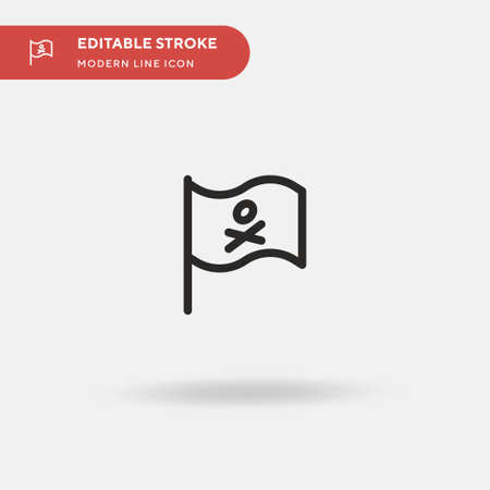 Pirate Flag Simple vector icon. Illustration symbol design template for web mobile UI element. Perfect color modern pictogram on editable stroke. Pirate Flag icons for your business project