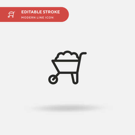 Wheelbarrow Simple vector icon. Illustration symbol design template for web mobile UI element. Perfect color modern pictogram on editable stroke. Wheelbarrow icons for your business project Illustration