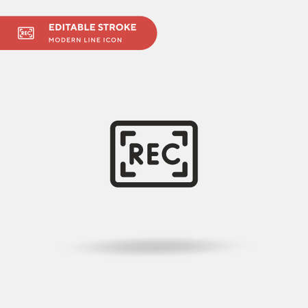 Record Simple vector icon. Illustration symbol design template for web mobile UI element. Perfect color modern pictogram on editable stroke. Record icons for your business project