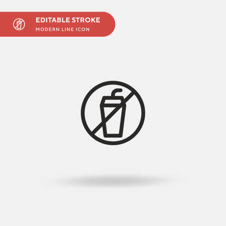 No Drinks Simple vector icon. Illustration symbol design template for web mobile UI element. Perfect color modern pictogram on editable stroke. No Drinks icons for your business project