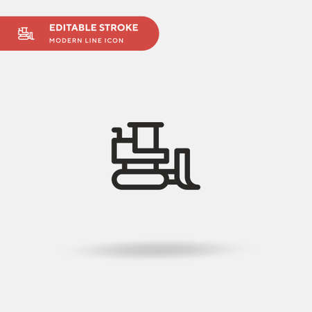 Bulldozer Simple vector icon. Illustration symbol design template for web mobile UI element. Perfect color modern pictogram on editable stroke. Bulldozer icons for your business project