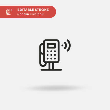 Public Phone Simple vector icon. Illustration symbol design template for web mobile UI element. Perfect color modern pictogram on editable stroke. Public Phone icons for your business project