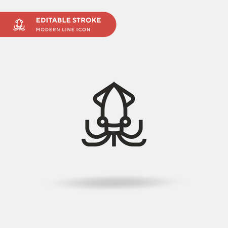 Squid Simple vector icon. Illustration symbol design template for web mobile UI element. Perfect color modern pictogram on editable stroke. Squid icons for your business project Illusztráció