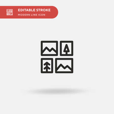 Gallery Simple vector icon. Illustration symbol design template for web mobile UI element. Perfect color modern pictogram on editable stroke. Gallery icons for your business project Illustration