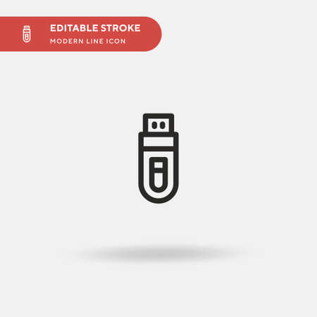 Flash Drive Simple vector icon. Illustration symbol design template for web mobile UI element. Perfect color modern pictogram on editable stroke. Flash Drive icons for your business project Illustration