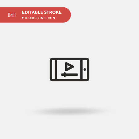Stream Video Simple vector icon. Illustration symbol design template for web mobile UI element. Perfect color modern pictogram on editable stroke. Stream Video icons for your business project