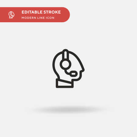 Headset Simple vector icon. Illustration symbol design template for web mobile UI element. Perfect color modern pictogram on editable stroke. Headset icons for your business project