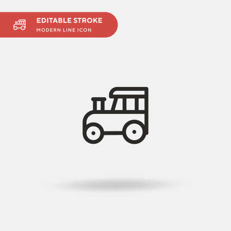 Tractor Simple vector icon. Illustration symbol design template for web mobile UI element. Perfect color modern pictogram on editable stroke. Tractor icons for your business project