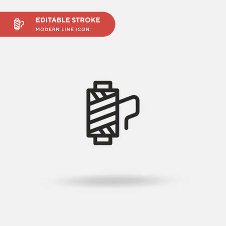 Thread Spool Simple vector icon. Illustration symbol design template for web mobile UI element. Perfect color modern pictogram on editable stroke. Thread Spool icons for your business project