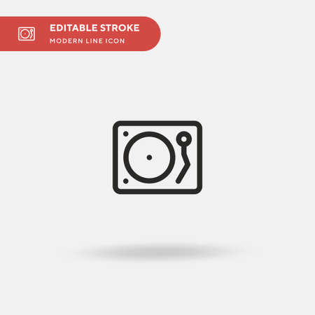 Turntable Simple vector icon. Illustration symbol design template for web mobile UI element. Perfect color modern pictogram on editable stroke. Turntable icons for your business project