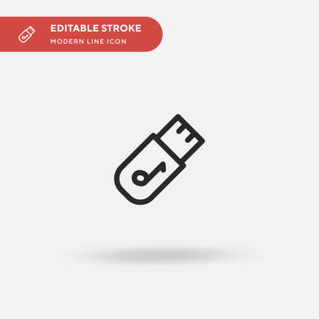 Usb Simple vector icon. Illustration symbol design template for web mobile UI element. Perfect color modern pictogram on editable stroke. Usb icons for your business project