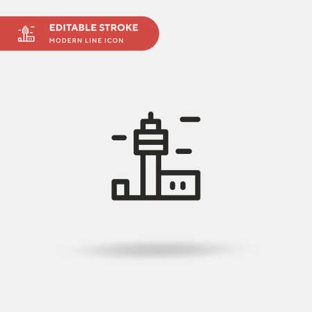 Control Tower Simple vector icon. Illustration symbol design template for web mobile UI element. Perfect color modern pictogram on editable stroke. Control Tower icons for your business project