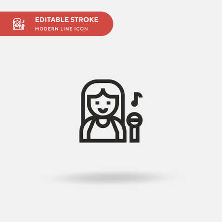 Singer Simple vector icon. Illustration symbol design template for web mobile UI element. Perfect color modern pictogram on editable stroke. Singer icons for your business project