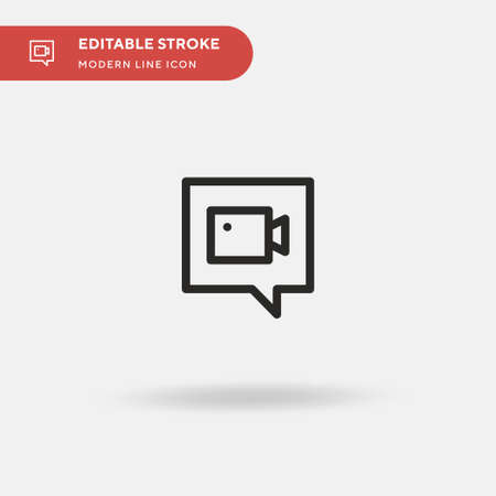 Videochat Simple vector icon. Illustration symbol design template for web mobile UI element. Perfect color modern pictogram on editable stroke. Videochat icons for your business project