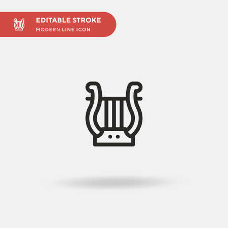 Lyre Simple vector icon. Illustration symbol design template for web mobile UI element. Perfect color modern pictogram on editable stroke. Lyre icons for your business project