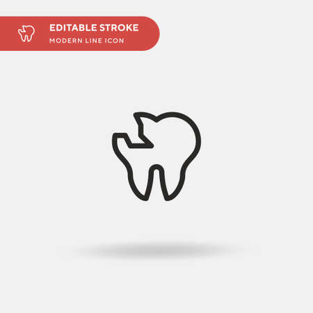 Broken Tooth Simple vector icon. Illustration symbol design template for web mobile UI element. Perfect color modern pictogram on editable stroke. Broken Tooth icons for your business project Stock Illustratie