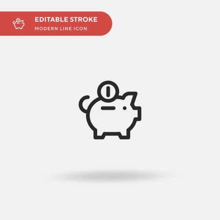 Piggy Bank Simple vector icon. Illustration symbol design template for web mobile UI element. Perfect color modern pictogram on editable stroke. Piggy Bank icons for your business project Ilustracja
