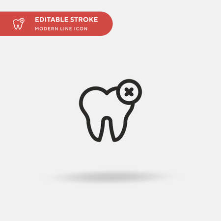 Tooth Simple vector icon. Illustration symbol design template for web mobile UI element. Perfect color modern pictogram on editable stroke. Tooth icons for your business project