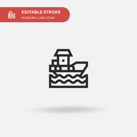 Boat Simple vector icon. Illustration symbol design template for web mobile UI element. Perfect color modern pictogram on editable stroke. Boat icons for your business project 向量圖像