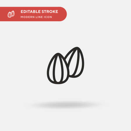 Almond Simple vector icon. Illustration symbol design template for web mobile UI element. Perfect color modern pictogram on editable stroke. Almond icons for your business project