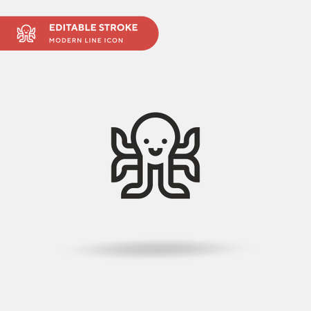 Octopus Simple vector icon. Illustration symbol design template for web mobile UI element. Perfect color modern pictogram on editable stroke. Octopus icons for your business project Illustration